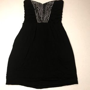 Guess black Bodycon Strapless Dress/Tunic Zip-Up